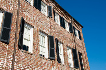 Brick Building with a Clear Blue Sky in the Background