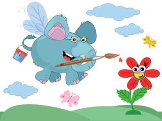 An elephant paints a rainbow