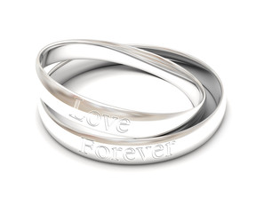 isolated silver wedding rings