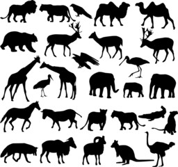animals silhouettes collection - vector