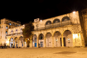 Buildings in Old Havana at night