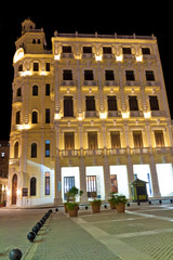 Typical building in Old Havana illuminated at night