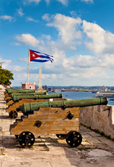 Battery of cannons on an ancient fortress overlooking Havana