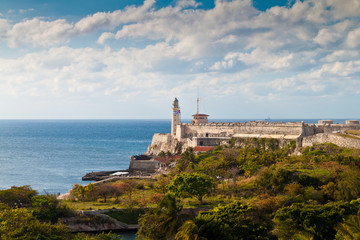 The castle of El Morro at the entrance of the bay of Havana