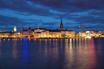 Evening view of Riddarholmen island and Gamla Stan in Stockholm
