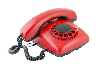 Retro red telephone isolated on white background