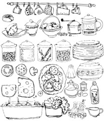 collection kitchen items. hand-drawn