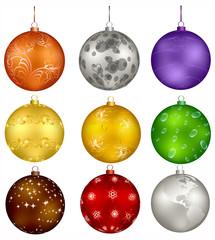 nine vector christmas design balls