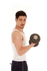 Man workout curl serious