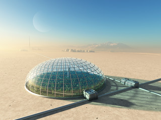 futuristic greenhouse in desert Wall mural