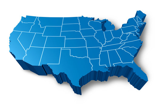 U.S.A 3D map symbol with a blue dimensional United States