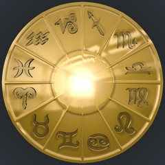 Golden Disk with Glassy Zodiac Signs