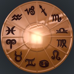 Copper Disk with Brown Zodiac Signs