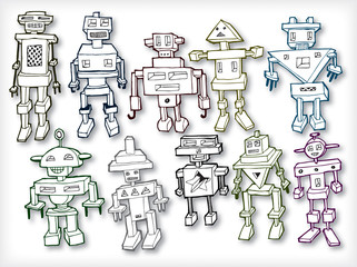 Collection Of Funny Retro Robots in Vector Format