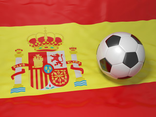 soccer ball on a Spanish flag