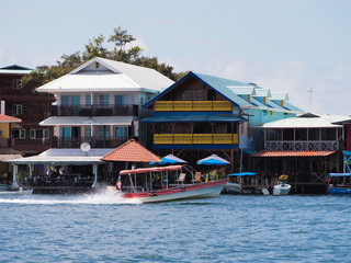 Hotels and restaurants on the waterfront in Bocas del Toro, Central America, Panama