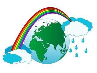 Earth and rainbow