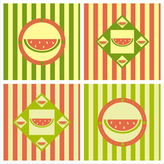 set of 4 cute melon backgrounds