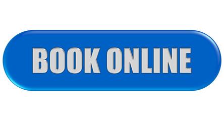 Button blau Seiten rund BOOK ONLINE