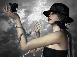 Illustrazione gotica - signora dei corvi