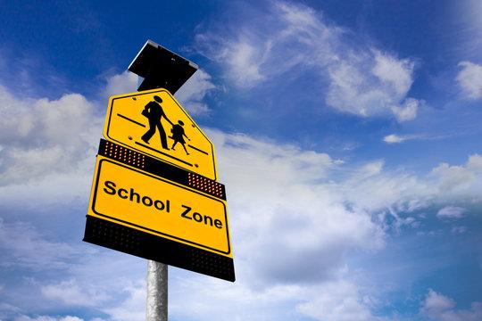 Schools Sign On Blue Sky Background