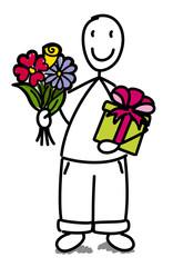Enfant avec un bouquet et un paquet cadeau