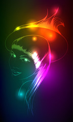 Hand-drawn fashion model from a neon. Vector illustration. A lig