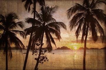 Palmier et coucher de soleil, style vintage