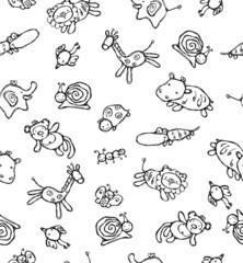 Seamless pattern of cute animals.