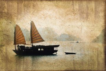 Jonque dans la baie d'Halong, style vintage