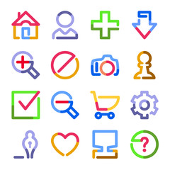 Basic web icons. Color contour series.