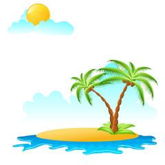Insel mit zwei Palmen