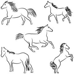 Drawn stylized horses