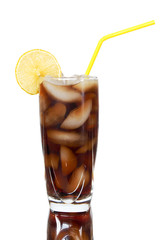 cold drink with ice and lemon