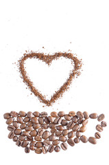 drawing of a cup and heart with roasted and ground coffee beans