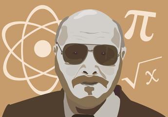 vector illustration of the physics teacher