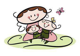 Bunte Zeichnung: Mutter und Kinder