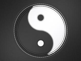 Ying yang stitched symbol on leather
