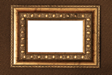 vintage metal frame with white background over fabric texture