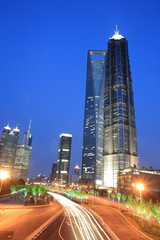 modern building at night in shanghai