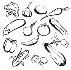 vegetables icon set in black lines