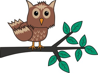 a brown owl sitting on a branch