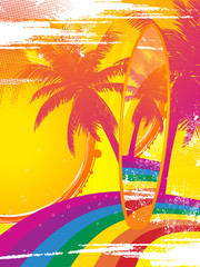 surf board on a tropical rainbow