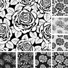 Set from seamless from roses and  leaves. Black and white