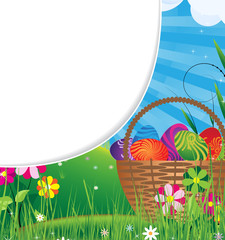 Basket filled with eggs  on the meadow