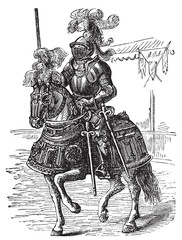 Ironclad full bodied armored horse and rider old engraving
