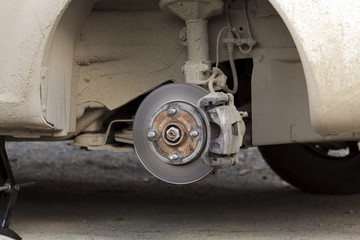 brake disk and the chassis suspension