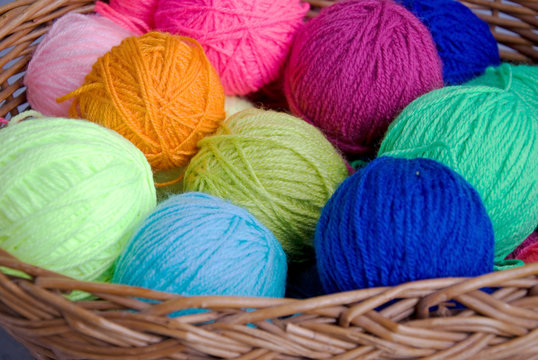 knitting basket and wool