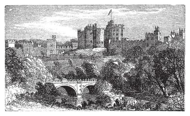 Alnwick Castle, in Alnwick, Northumberland County. 1890 vintage