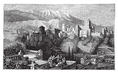 The Alhambra, in Granada, Spain. Old engraving around 1890.